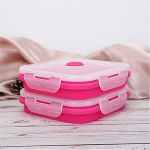Pink Square Silicone Airtight Foldable Container